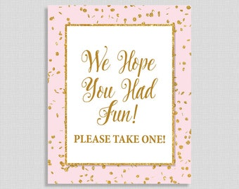 Party Favor Sign, Pink & Gold Glitter Confetti Sign, Baby Girl Shower Favor Sign, INSTANT PRINTABLE