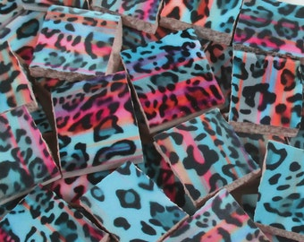 Ceramic Mosaic Tiles - Pink Blue Coral Black Animal Print Tile - 40 Pieces - For Mosaic Art / Mixed Media Art/Jewelry