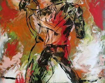 "Original artwork, ""Dancers for the 4th of July"""