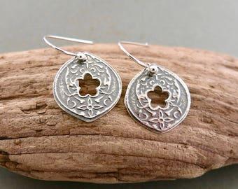 Hand Pierced Earrings in Oxidized Sterling Silver