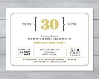 Anniversary Party Invitation  |  Wedding Anniversary Party Invitation  |  Anniversary Invite  |  30th Anniverary Invitation