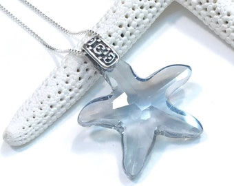 Starfish Necklace - Swarovski Crystal Starfish - Starfish Jewelry - Sterling Silver Chain - Crystal Blue Shade