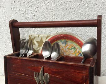 Vintage Wooden Utensil Caddy, Vintage Spoon and Napkin Holder