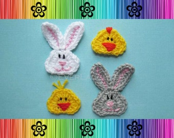 Bunny and Chick Applique - CROCHET PATTERN