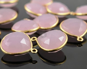 Natural Mined Rose Quartz, Bezel Heart Shape Gemstone Component, Gold Vermeil ,  16mm, 1 Piece, (BZC6096)