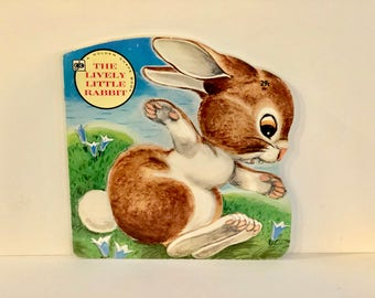 Vintage A Golden Shape Book, The Lively Little Rabbit, # 5967, Soft Cover Book, Western Publishing Co, Made in USA, Copyright 1972