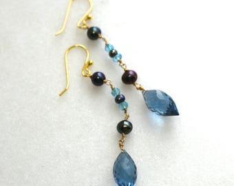 Rain Drops..London Blue Quartz, Freshwater Pearl Earrings in Gold...