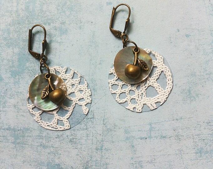 Boho clip on Earrings - lace earrings - dangle and drop - mother of pearl - cherry earrings - hook earrings -crochet earrings -long earrings