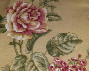 Fabric Tan with Floral Print 3 Yards