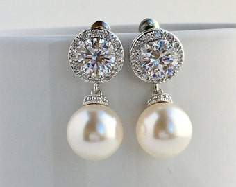 Pearl Bridal Earrings  Crystal Bridal Halo Earrings Wedding Cubic Zirconia Earrings Pearl Crystal Earrings Bridal Swarovski Pearl Earrings