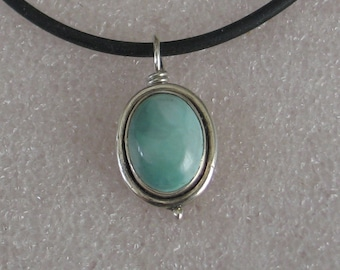 """Jewelry Rescue Sterling Silver and Larimar Vintage Oval Pendant 1"""""""