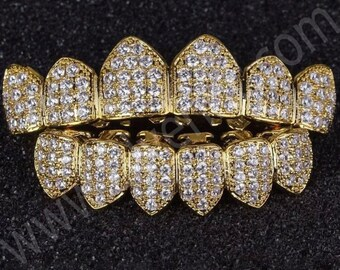 18k Gold Plated CZ Cluster Custom Slugs Top & Bottom GRILLZ Mouth Teeth Set