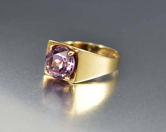Vintage Gold Signet Amethyst Ring, Art Deco English Ring, Stacking Band Ring, Purple Gemstone February Birthstone Ring, Anniversary Gift
