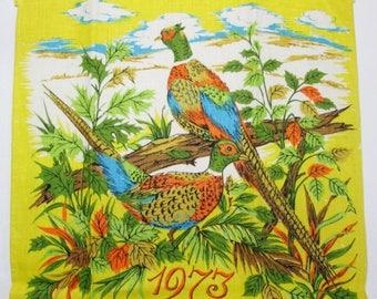Vintage Tea Towel 1970's 1973 Calendar Towel Hand Towel Kitchen Linens Pheasants Birds Yellow Fall Autumn Kitchen Decor Vintage Linens