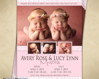 Baby Twin Birth Announcement - Digital File - Avery & Lucy design