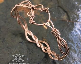 Art Nouveau Bronze Cuff Bracelet, Wavy Cuff Bracelet, Bronze Woven Wire Bracelet, Oxidised Bronze Cuff Bracelet, Art Nouveau Bangle