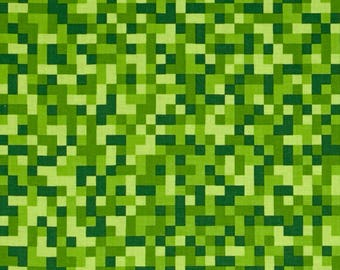 Minecraft Fabric / Bitmap Fabric / Green Minecraft by the yard / Minecraft Style Yardage Michael Miller green / By The Yard and Fat Quarter