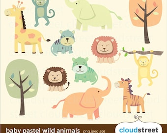 BUY 2 GET 1 FREE baby pastel wild animals clipart - animal nursery clipart - cute animal clip art - safari clipart vector graphics