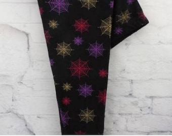 ONE SIZE Colorful Spider Web Halloween Leggings Size 2-12