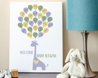 Baby Guest Book, Baby Shower Sign-In, Giraffe Guest Book, Giraffe Baby Shower Guest Book Alternative - 8x10 - 29 Balloons