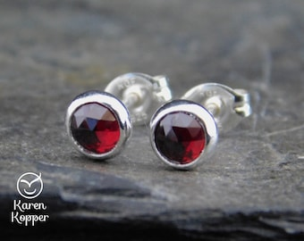 January birthstone earrings - Natural red garnet gemstone rose cut cabochon, 5mm,  sterling silver bezel, second earrings, 001