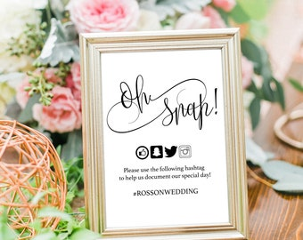 Oh Snap Wedding Sign - Wedding Social Media - Print  on kraft - Editable Text - Hashtag Sign - Simple - Downloadable wedding #WDH301_9