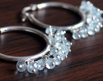 Sky Blue Topaz Hoop Earrings, Sterling Silver, Pale Pastel, Gemstone Jewelry, December Birthstone, Birthday Gift, Free Shipping
