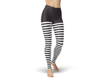 COZY FLEECE-LINED black & white wicked witch of the west leggings tights broad size range