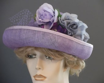 Lavender sinamay upbrim cloche hat, Downton Abbey, 1920s, 1930s purple and gray flowers, entirely hand sewn, hand blocked, garden party ,