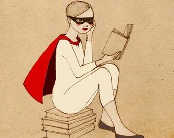 Superhero Reader Girl Deluxe Edition Print of original drawing