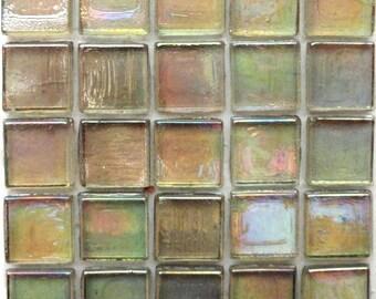 """15mm (3/5"""") Moss Green and Golden Yellow  Iridescent Transparent Mosaic Tiles//Mosaic//Mosaic Supplies"""