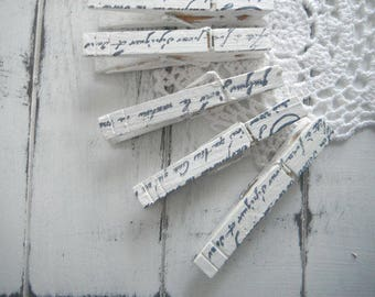 clothes pins clothes pegs hand stamped shabby chic french country script wedding decor photo hanger rustic chic cottage country - 18 count