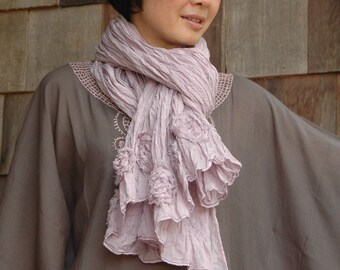 Why do I love you so.....Mutipurpose Hand-Dyed Azo Free Pale Pink  Filament Cotton Shawl With Pin tuck Detail And Rosette Trim