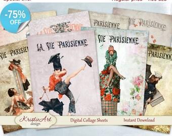 75% OFF SALE Digital Cards La Vie Parisienne - Digital Collage Sheets C062 Greeting ATC Card Printable download Paris image cardmaking Retro