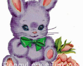 Puple Bunny with Green Bow Digital Image from Vintage Greeting Cards - Instant Download