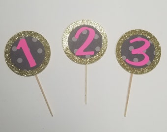 Number Glitter Cupcake Toppers