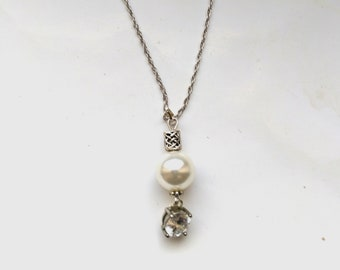 Genuine Pearl Long necklace, South Sea White Pearl Pendant, Vintage Crystal Round, Sterling Silver, Birthday gift for her, SS gift for wife