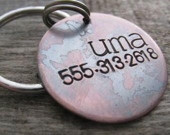 UMA - Hand Stamped Pet ID Tag,  Dog Tag , Dog Collar Tag,  Handsatmped Pet Tag - Copper Dog Tag