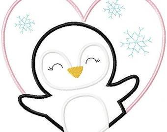 La Saint-Valentin pingouin fer sur Patch Applique Machine brodé de fer sur Applique la Saint-Valentin