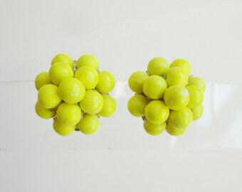 60s Neon Yellow Ear Clips