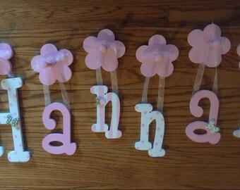 Custom Letter Name Sign - Custom Girls Letter Shabby Chic Name Sign - Custom Hanging Letters