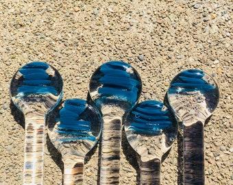 High End Glass Stir Sticks in Blue Teal Swirl by OceanBeachGlass