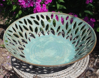 Decorative Handmade and Carved Pottery Bowl ROBIN