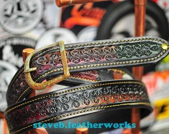 "Belt 1 - the Juan - a 1.75"" wide custom leather belt - Unisex, Mens or Ladies Custom Handmade Leather Belt"