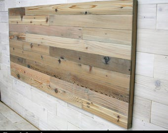 Horizon Full Headboard Panel made from Reclaimed Cedar (tags recycled wood country home farmhouse bed wall headboard, hanging headboard)