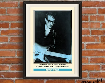 Buddy Holly Poster | Retro Music Quote Print A3 Art