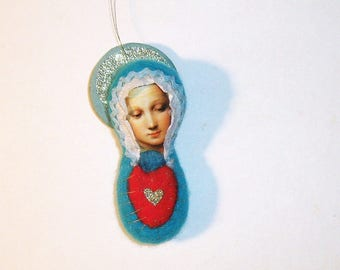 Mary's Mended Heart, Needle Felted - by Elaine Mary