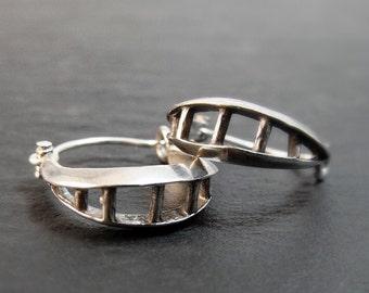 Sterling Silver Hoop Earrings, Silver Earrings, Gifts For Her, Small Earrings, Small Hoops, Tiny Hoops, Split Hoop, Punk Earrings, Handmade