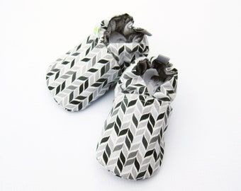 SALE  Small Organic Herringbone in Grey / All Fabric Soft Sole Shoes / Ready to Ship / Babies