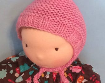 """Knit Hat """"Le Fig"""" for 16-inch Waldorf Doll  Extrafine Merino **Cotton Candy**"""